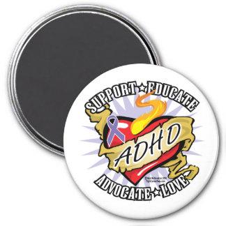ADHD-klassikerhjärta Magnet Rund 7.6 Cm