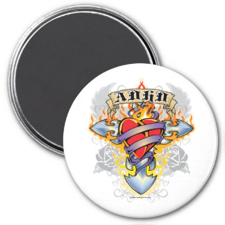 ADHD-kor & hjärta Magnet Rund 7.6 Cm