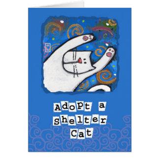 Adoptera en skyddkatt, älska en katt hälsningskort