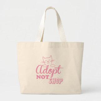 adoptera för att inte shoppa: rosa katt jumbo tygkasse
