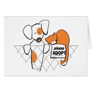 Adoptera husdjur lappar & Rusty™ Hälsningskort