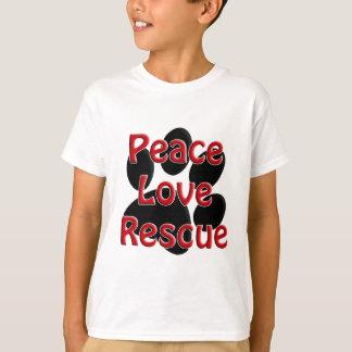 Adoption för husdjur för fredkärlekrädding tshirts