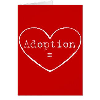 Adoption = kärlek i vit hälsningskort