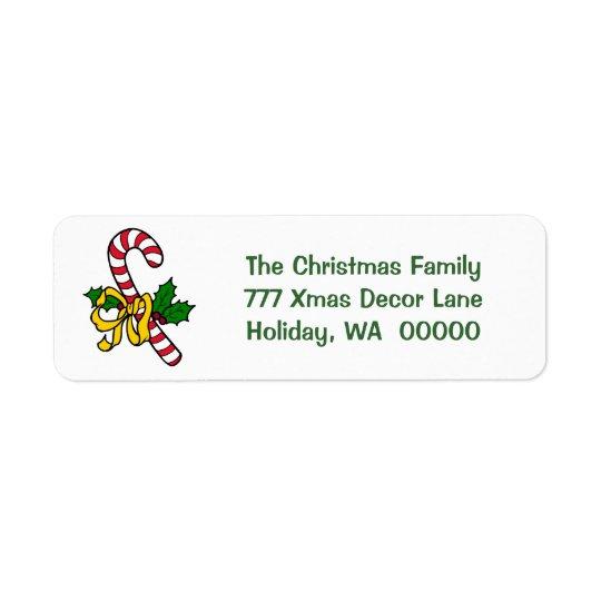 Adress för jul för julafton för candy returadress etikett