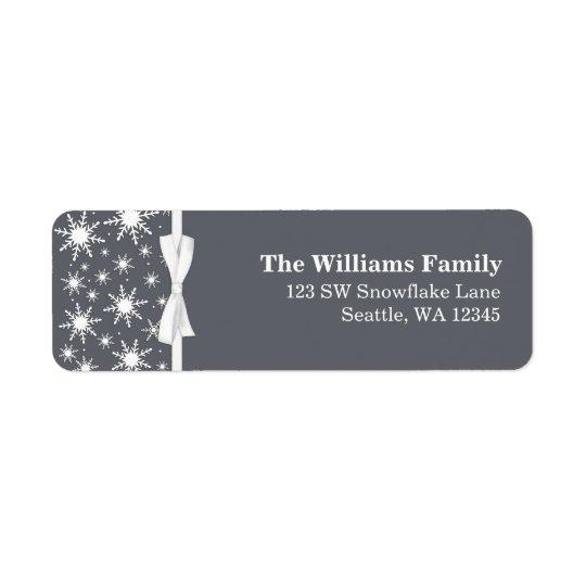 Adress för jul för vit- och gråttsnöflingorband returadress etikett