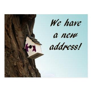 Adressändring med birdhousevykortet vykort