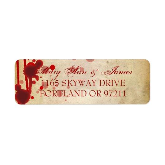 Adressen för vampyrHalloween bröllop fejkar rött Returadress Etikett