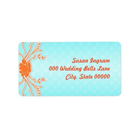 Adressetiketter för aqua- och orangesommarbröllop