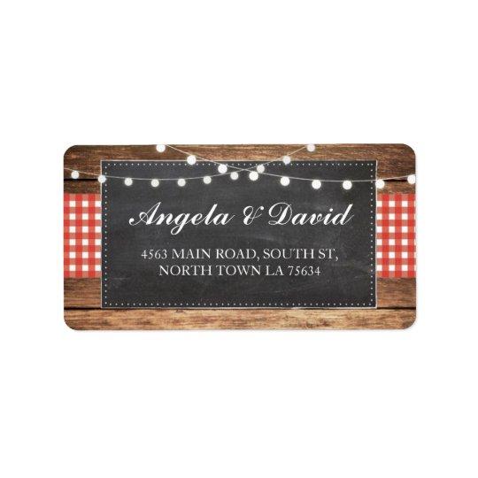 Adressetiketter för bröllop för Wood röd