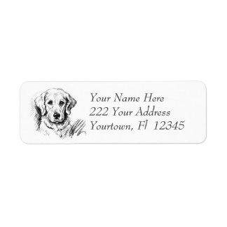 Adressetiketter för design för Labrador valpteckni
