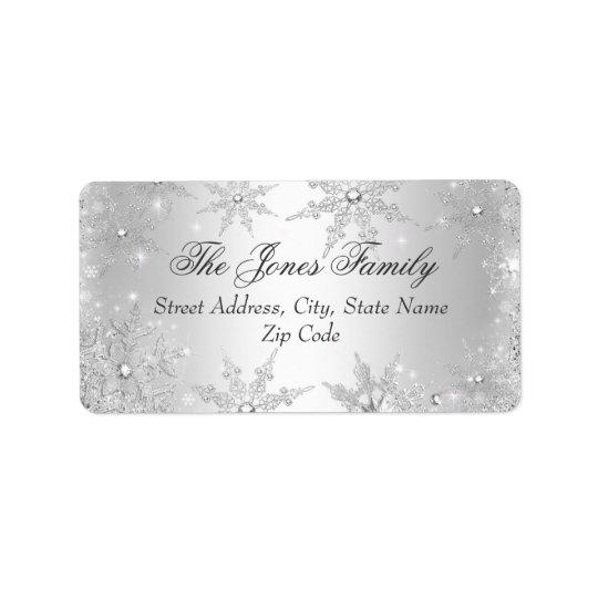 Adressetiketter för jul för silvervinterunderland