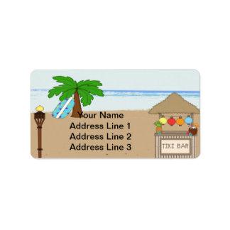 Adressetiketter för Laua/Tiki partyinbjudan