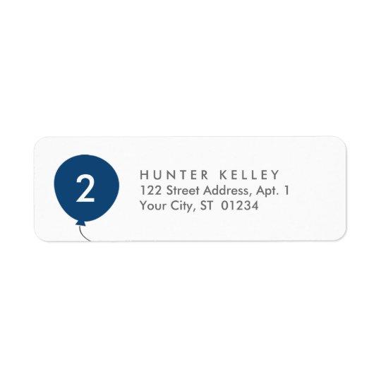 Adressetiketter marinblå ballong för personlig
