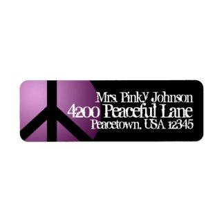 Adressetikettfredsteckenet, lilan, svart, returadress etikett