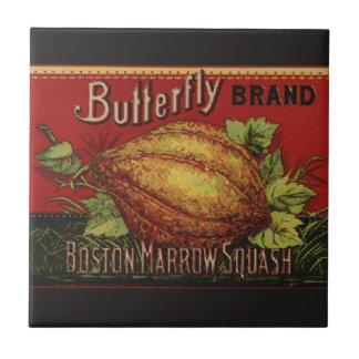 Advertizing för grönsak för vintagesquashetikett kakelplatta