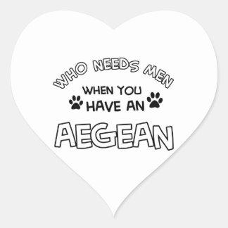 Aegean kattaveldesigner hjärtformat klistermärke