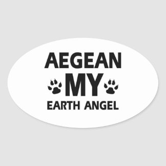 Aegean kattdesign ovalt klistermärke
