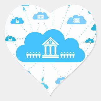 Affär en cloud3 hjärtformat klistermärke
