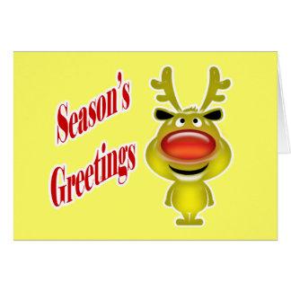 Affären Julhälsningar rolig rengult Hälsningskort