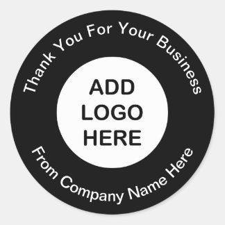 Affärslogotypen tackar dig klistermärkear runt klistermärke