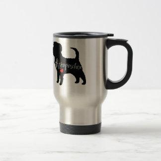 Affenpinscher med kärlek för hjärtahund avelnvalp rostfritt stål resemugg