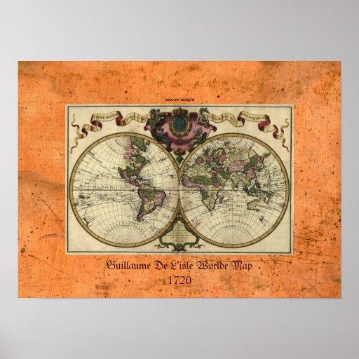 """""""Affisch 1720 för Guillaume deLisle"""" Olde Worlde k"""