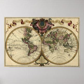 """""""Affisch 1720 för Guillaume deLisle"""" Olde Worlde k Poster"""