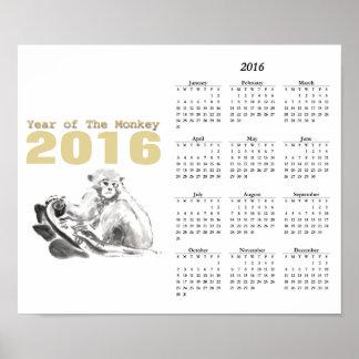 Affisch 2016 för kalender för år för poster