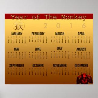 Affisch 2016 för kalender för leendeapaår poster