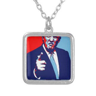 """Affisch 2017 för Donald Trump """"skräck"""" parodi Silverpläterat Halsband"""