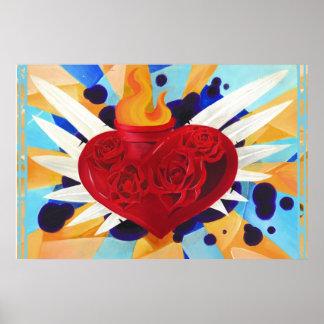 Affisch 36 x 24 för hjärta för grafittistil sakral