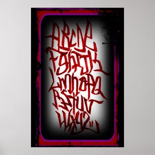 Affisch - alfabet graffitti - röd