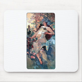 affisch för art nouveau för muchanedgånghöst mus mattor
