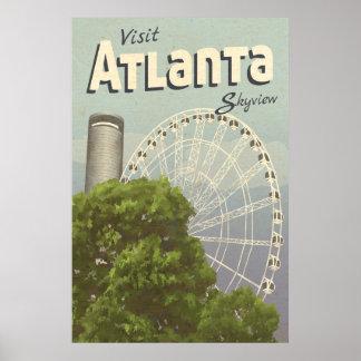 Affisch för Atlanta Skyview pariserhjulvintage