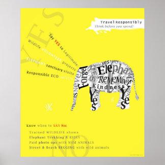 Affisch för beskydd för ansvarigturismelefant