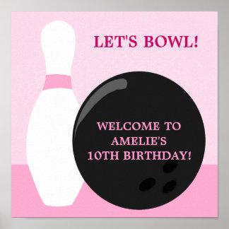 Affisch för bowlingflickafödelsedagsfest