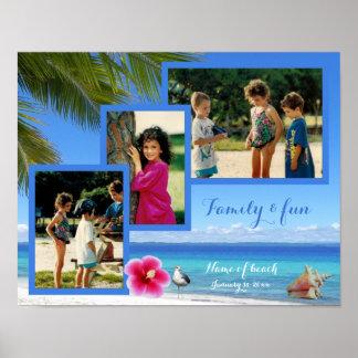 Affisch för Collage för familjfotostrand