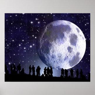 Affisch för dagdrömmare för måne för Planetariumst