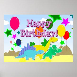 Affisch för Dinosaurs för grattis på födelsedagenp Poster