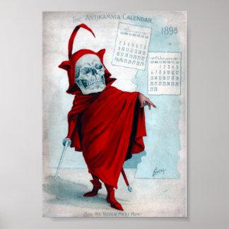 Affisch för djävulen för Antikamnia kalender skele