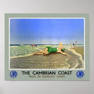 Affisch för England Cambrian kustenvintage resor
