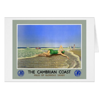 Affisch för England Cambrian kustenvintage resor Hälsningskort