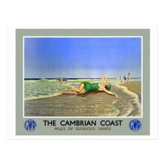 Affisch för England Cambrian kustenvintage resor Vykort