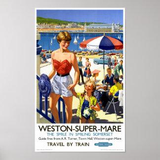 Affisch för England Weston toppen Marevintage