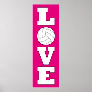 Affisch för färg för vertikal volleybollkärlek