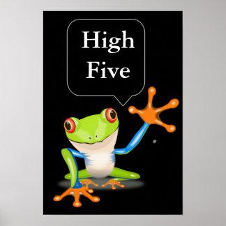 Affisch för festlig groda för kick fem humoristisk