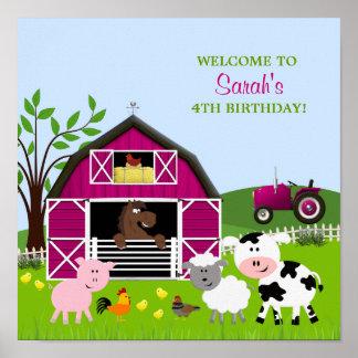 Affisch för födelsedag för flickaBarnyardboskap Poster