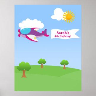 Affisch för födelsedag för flygplanbanerflicka poster