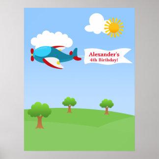 Affisch för födelsedag för flygplanbanerpojke poster