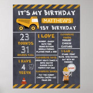 Affisch för födelsedag för konstruktionsmilstolpar poster